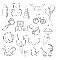 Baby childhood and childish sketched icons vector