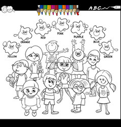 Basic colors coloring book with happy kids vector