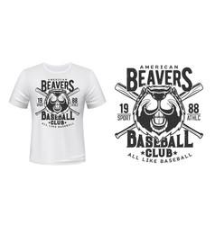 beaver t-shirt print baseball sport club badge vector image