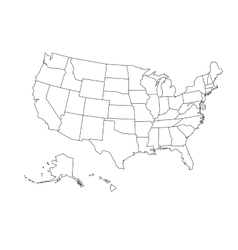 Blank outline map of USA vector