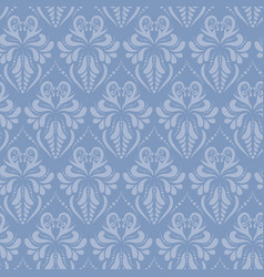 Blue baroque style damask seamless pattern vector