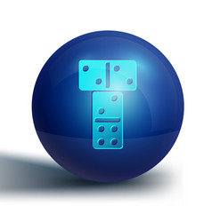 Blue domino icon isolated on white background vector