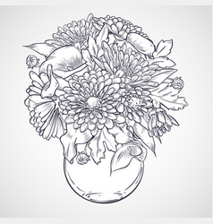 Bouquet of callas and chrysanthemum flowers vector