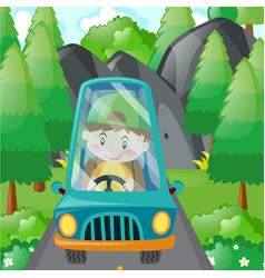 Boy driving in blue car vector