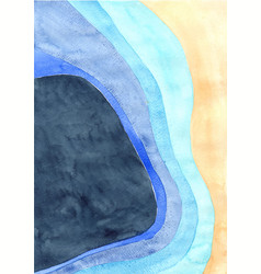 brown sand and ocean blue layer watercolor vector image