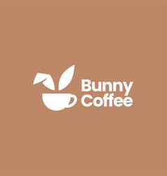 bunny coffee cup drink hare rabbit cafe logo icon vector image
