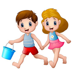 Cartoon boy and girl running vector