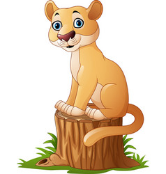 cartoon feline sitting on tree stump vector image