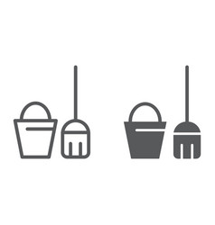 cleaning service line and glyph icon clean and vector image