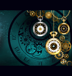 clock with gears on green background vector image