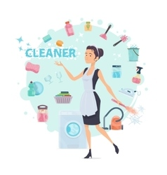 Colorful Cleaning Round Composition vector image