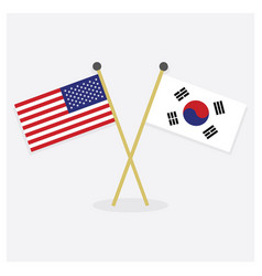 Crossed united states and south korea flags icons vector