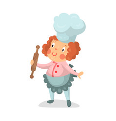 Cute cartoon little girl chef character with vector