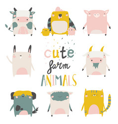 Cute farm animals set on white background vector