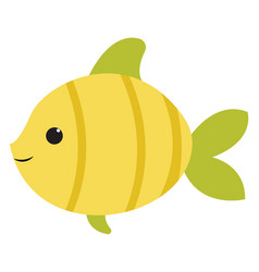 Cute green fish on white background vector