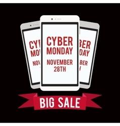 Cyber monday sale design template witn black vector