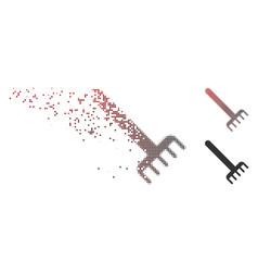 damaged pixel halftone rake icon vector image