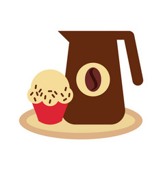 delicious coffee with cupcake vector image