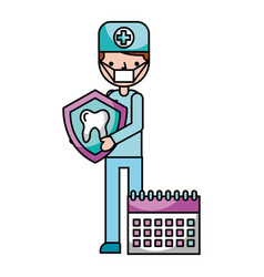dentist man tooth and calendar hygiene dental vector image