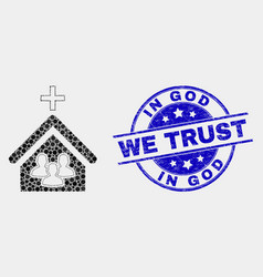 Dot church people icon and scratched in god vector