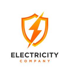 Electrical shield industrial logo vector