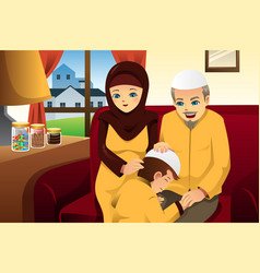family celebrating eid-al-fitr vector image