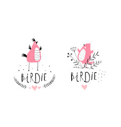 funny birds characters cute logo design vector image