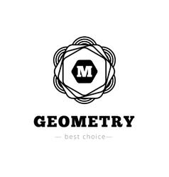 geometric flower style monogram logo vector image