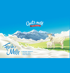 Goat and kid in a mountainous landscape vector
