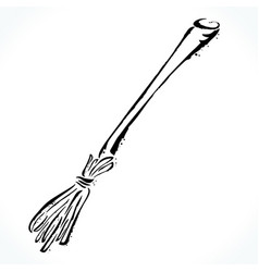 hand drawn broom isolated on white background vector image