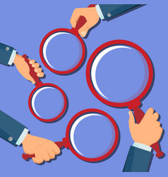 hand holding magnifying glass searching vector image