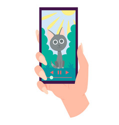 hand holding smartphone with playing video on vector image