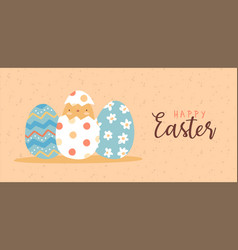 happy easter card funny bachicken egg vector image