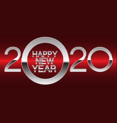happy new year 2020 silver on red light vector image