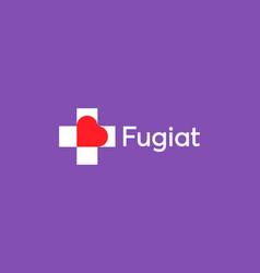 heart in plus or cross logo design template vector image