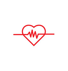 heart pulse logo icon template vector image