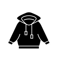 Home outfit with hoodie black glyph icon vector