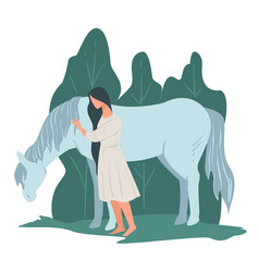 Horse riding woman standing horse hobor vector