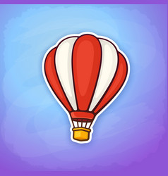 hot air balloon in red and white stripes vector image