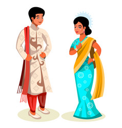 Indian couple in traditional dress vector