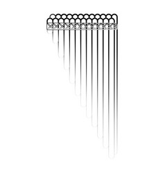 Isolated panpipe outline musical instrument vector
