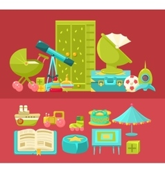 Kids Room Interior And Elements Set Two vector