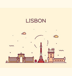 Lisbon city skyline portugal linear style vector