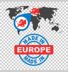 made in europe stamp world map with red country vector image