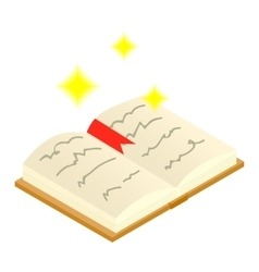 Magic book of spells open isometric 3d icon vector
