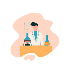 Male scientist chemist character wearing white vector