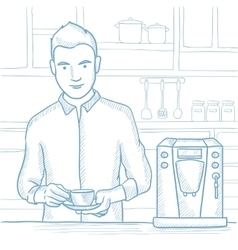Man making coffee sketch vector