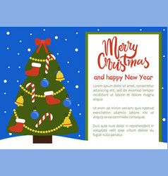 merry christmas and happy new year poster tree vector image