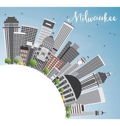 Milwaukee skyline with gray buildings blue sky vector