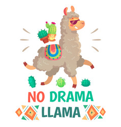 motivation lettering with no drama llama chilling vector image